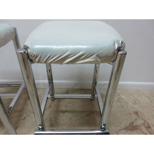 Chrome Mid-Century Cal Style Chrome Counter Bar Stools - A Pair For Sale - Image 7 of 11