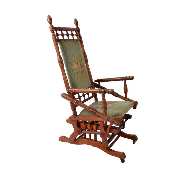 Rococo Antique Rocking Chair Hand Carved & Turned Walnut Wood Needlepoint Upholstery For Sale - Image 3 of 13