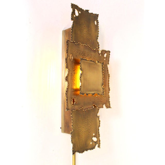 Tom Greene Brass Brutalist Torch Cut Sconces - a Pair For Sale - Image 4 of 8