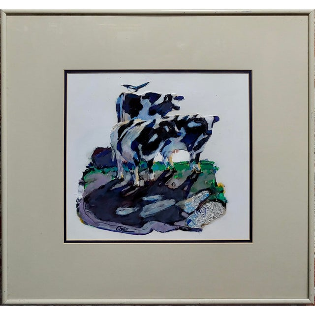 """Marianne Cone - Black & White 3 Cows & a Magpie bird-Painting acrylic on board -Signed frame size 20 x 19 board size 12 x 11"""""""