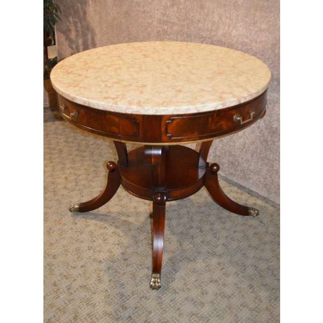 Mahogany Round Marble Top Table - Image 8 of 11