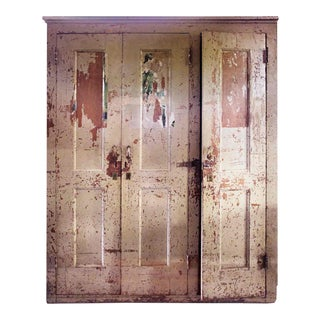 Early 20th Century Rustic Wooden 3-Door Cabinet For Sale