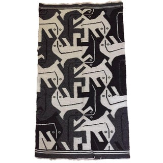 1980s Vintage Bolivian Textile Rug Abstract Tribal Lizards- 2′ × 3′7″ For Sale