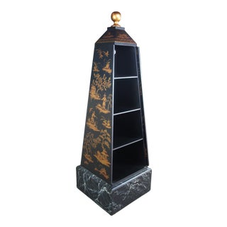 Black Lacquer Chinoiserie Obelisk Book Shelf, Mid 20th Century For Sale