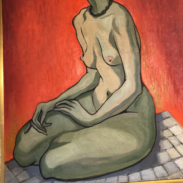 Large Original Vintage Alicia Cajiao Female Nude Painting For Sale - Image 4 of 6