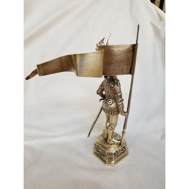 19th Century 19th Century Sterling & Vermeil Silver Knight W/ Staff Flag, Germany For Sale - Image 5 of 11