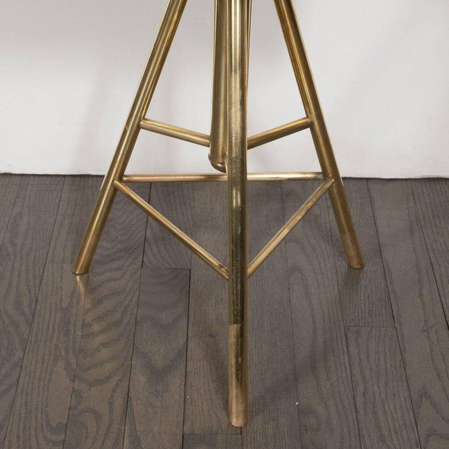 Mid-Century Modern Swivelling Brass Stool with Gauffraged Crocodile Velvet For Sale - Image 9 of 10
