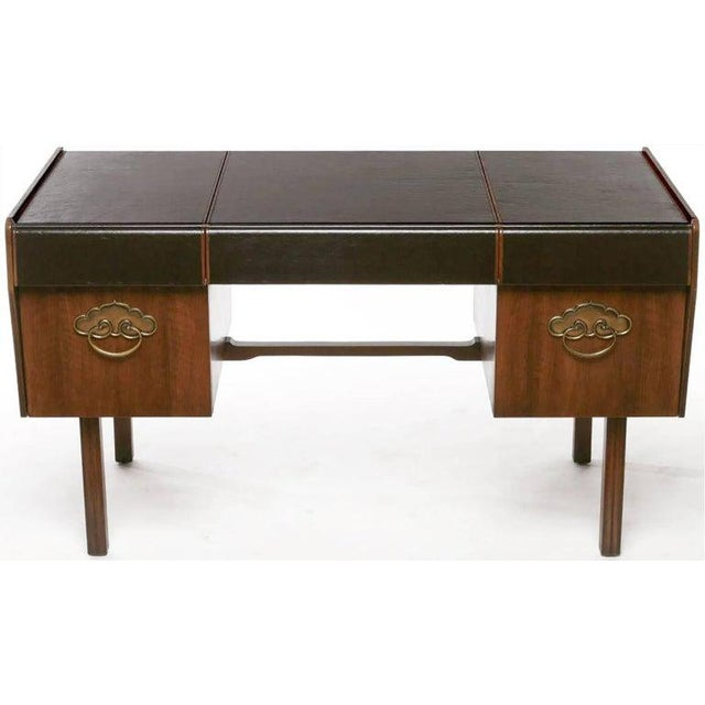 Mid-Century Modern Desk by Bert England for Widdicomb in Leather, Walnut and Bronze For Sale In New York - Image 6 of 10
