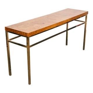 Milo Baughman Style Burl Wood Console Table