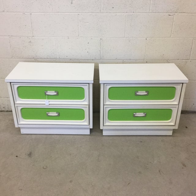 Mid Century Lime Green & White Lacquer Night Stands For Sale - Image 10 of 10