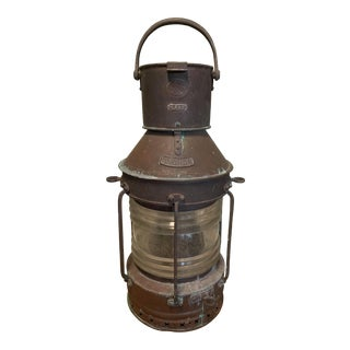 Large Antique Patina Copper Ships Lantern by Hugh Douglas of Liverpool For Sale