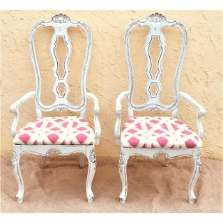 Italian Shabby Chic Hand Carved Arm Chairs- a Pair Preview