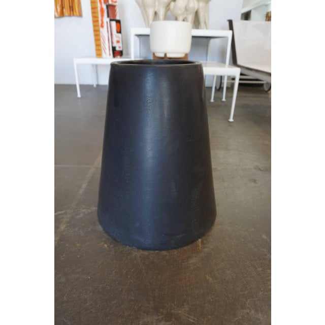 Pair of black glazed cone or chimney pots designed by Tackett in the 1960s for the AP Co., Manhattan Beach CA.