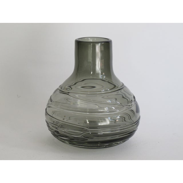 Blown Smoky Glass Vase with Applied Decoration - Image 2 of 4