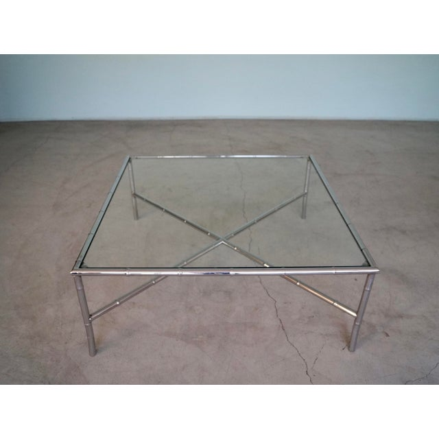 1960s 1960s Hollywood Regency Chrome Bamboo Coffee Table For Sale - Image 5 of 13