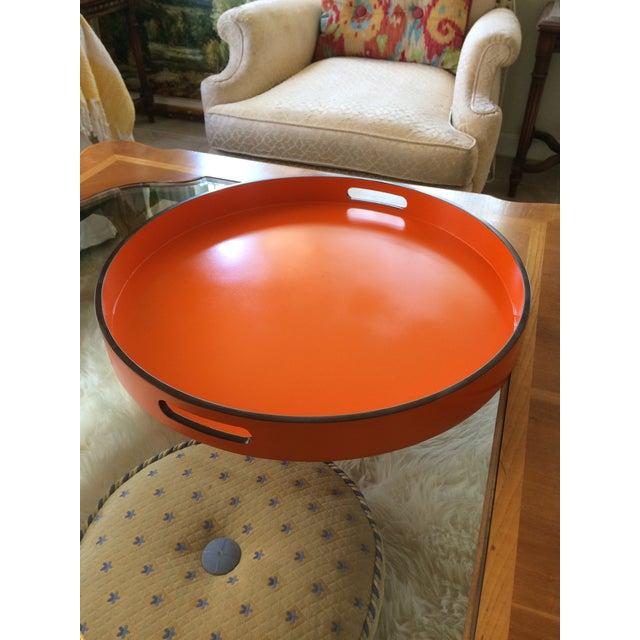"Hermes Orange Inspired 21"" Round Bar Serving Tray For Sale In Denver - Image 6 of 13"