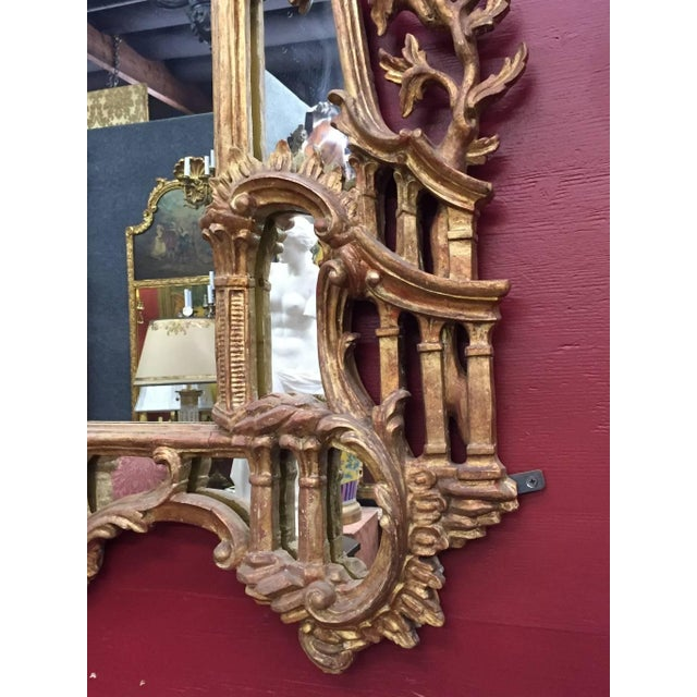 Brown George III Chippendale Style Carved Giltwood Mirror, 19th Century For Sale - Image 8 of 9
