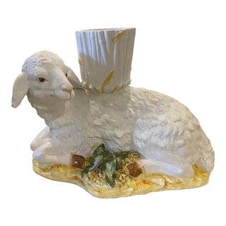 Large Vintage Ceramic Italian Faux Bamboo Ceramic Lamp Sheep Planter Pot For Sale