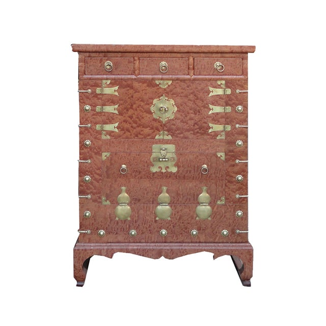 Korean Brass Burl Wood Veneer Side Cabinet Table