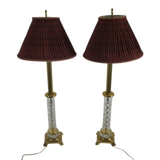 Waterford Pair Crystal Column Table Lamps with Shades For Sale