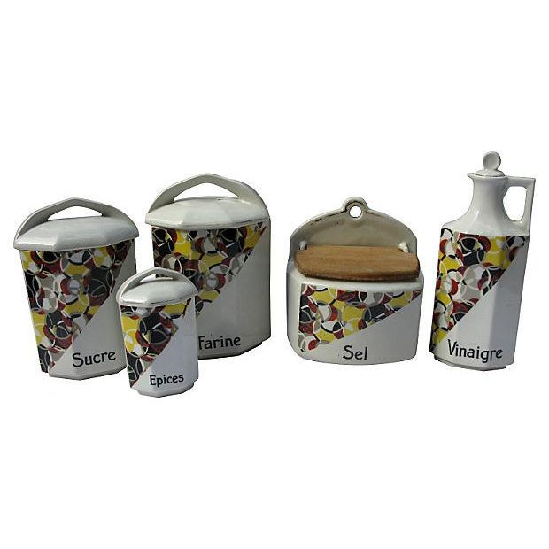 French Art Deco Porcelain Canisters - Set of 5 - Image 1 of 3