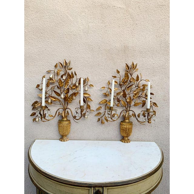 Gold Hollywood Regency Giltwood Wall Sconces - a Pair For Sale - Image 8 of 12