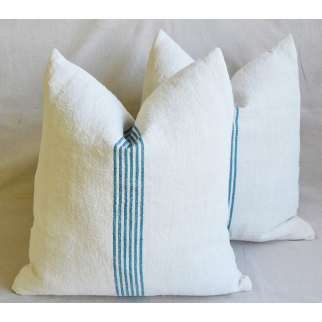 """Aqua Striped French Homespun Grain Sack Textile Feather/Down Pillows 21"""" Square - Pair For Sale - Image 13 of 13"""