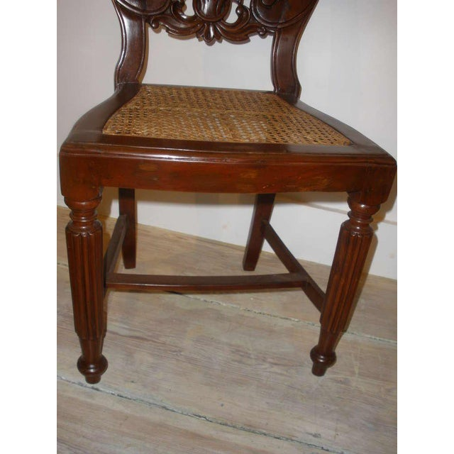 Wood Set of Four Rare 19th Century Portuguese Goa Rosewood Dining Chairs For Sale - Image 7 of 10