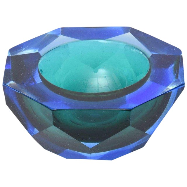 Italian Murano Diamond Faceted Sommerso Geode Glass Bowl For Sale