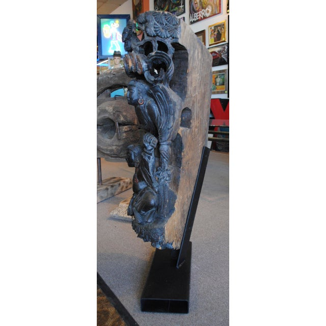 Brown Antique Chinese Carved Wood Guardian Sculpture For Sale - Image 8 of 11