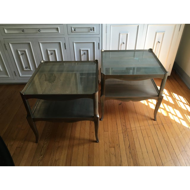 Pair of leafed side table's great midcentury style with custom glass inserts on top of each piece. Could reverse paint the...