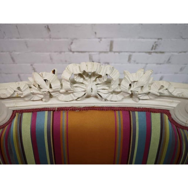 1970s Vintage French Reupholstered Louis XVI Style Shabby Chic White Armchair For Sale - Image 5 of 12