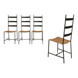 Set of Four Metal and Cane Chairs For Sale