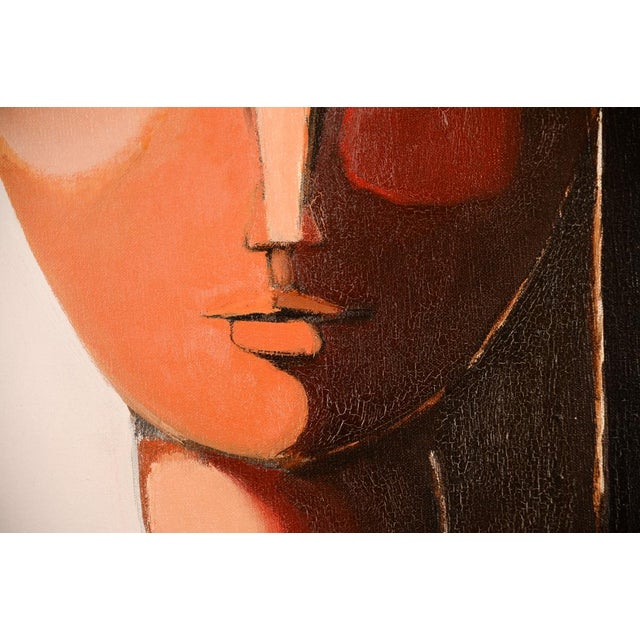 Canvas Antonio Guanse 'Abstract Face by the Window' Oil Painting -1960s For Sale - Image 7 of 10