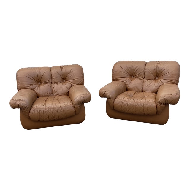 Oversized Italian Leather Club Chairs - a Pair For Sale