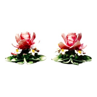 Vintage Italian Majolica Floral Candle Holders - a Pair For Sale