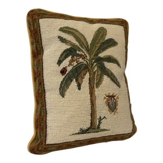 Needlepoint Palm Tree Pillow For Sale