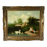 Image of Large Contemporary Landscape With Chickens and Ducks Oil Painting For Sale