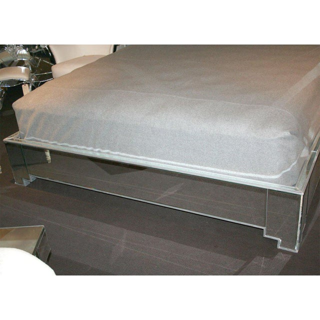 Custom Mirrored Bed with Silver Trim Detailing, This bed pictured is King . Available in any size. Priced according to...
