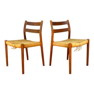 Mid-Century Danish Teak j.l. Møller Model 84 Chairs With Woven Seat- A Pair For Sale