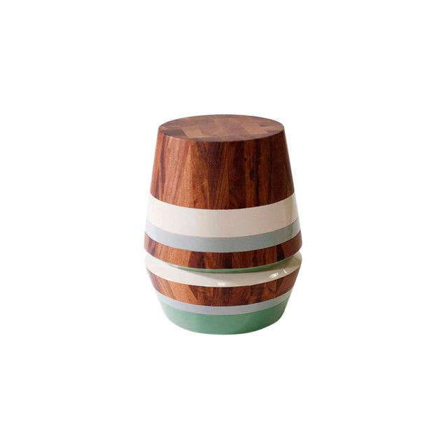 Lacquer Capirucho Side Table & Stool Lacquered Bands For Sale - Image 7 of 7
