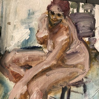 Vintage Original Female Nude Expressionist Oil Painting Preview