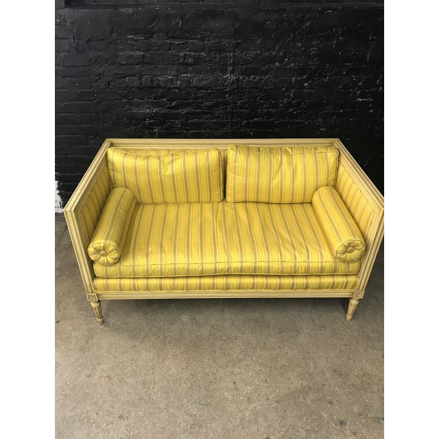 Bright Yellow & Green Stripe French Directoire Louis XVI Settee Loveseat For Sale - Image 13 of 13