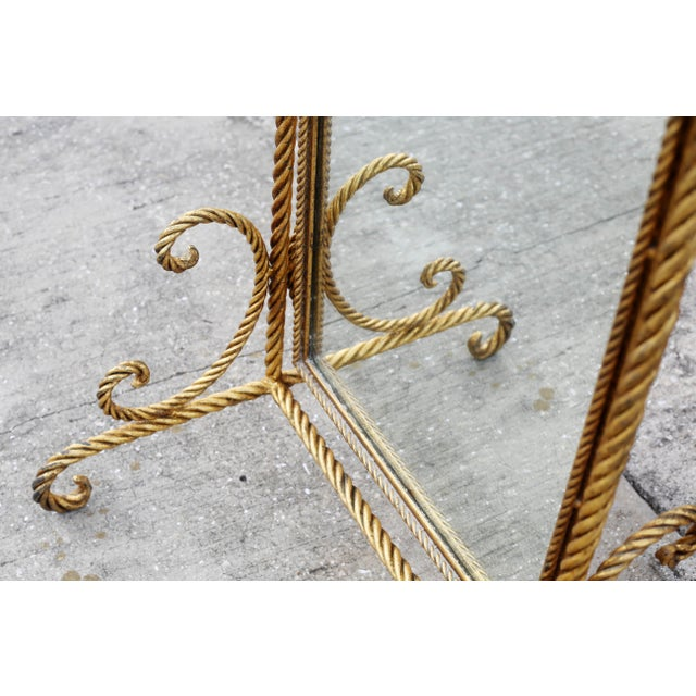 1960s Vintage Gold Gilt Wrought Iron Rope Floor Mirror - Made in Italy For Sale - Image 5 of 11