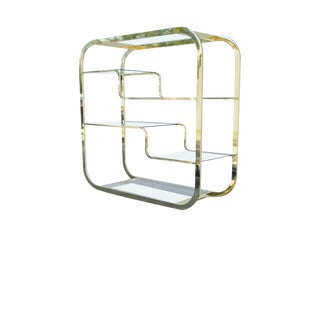 1970s Mid Century Modern Design Institute of America Brass Glass Etagere For Sale