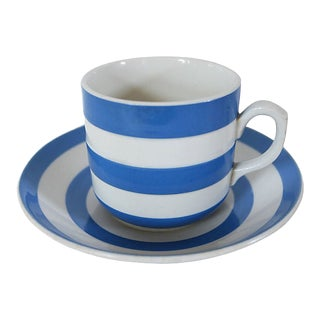 Mid-Century English Cornishware Mug & Saucer For Sale