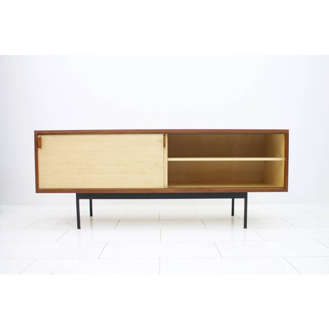 Teak Sideboard With Seagrass Sliding Doors by Dieter Waeckerlin, 1950s For Sale - Image 6 of 8