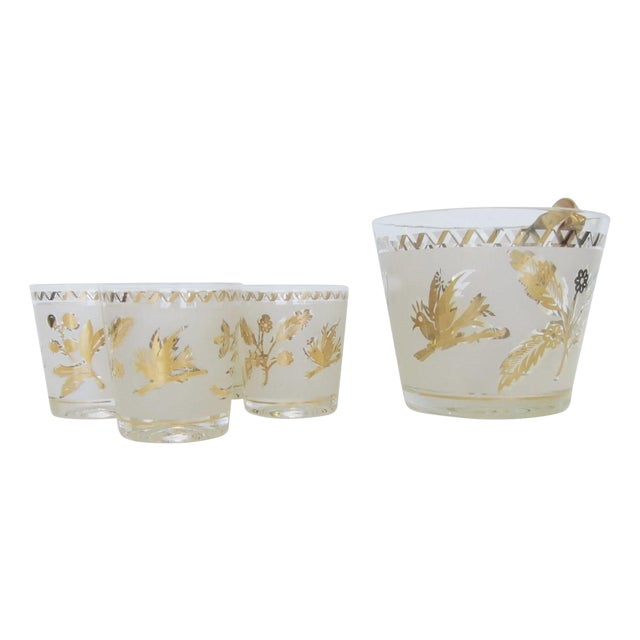 Vintage Gold Leaf Ice Bucket and 4 Rocks Glasses - Image 1 of 5
