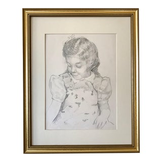 Vintage Drawing of a Young Girl by Robert Whitmore C.1940 For Sale
