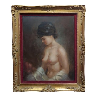 "Lawrence Vincent Garrison ""Beautiful Nude Brunette"" Oil Painting For Sale"